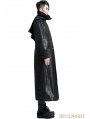 Black Gothic Printing Long hooded Jacket for Men