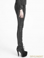 Black Gothic Leather Strap Pants for Women