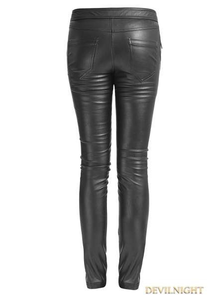 Black Gothic Leather Strap Pants For Women Devilnight Co Uk