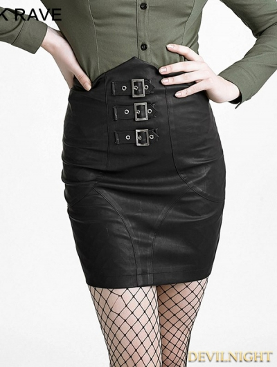 Black Gothic High-Waist Skirt