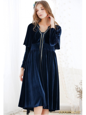 Blue Velvet Vinatge Medieval Chemise Cape Dress