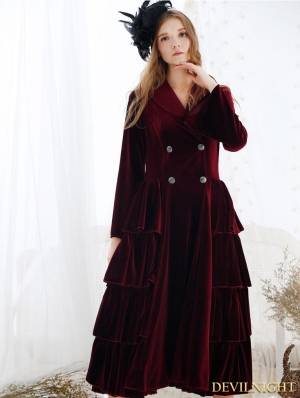 Wine Red Velvet Vintage Medieval Chemise Dress Outfit