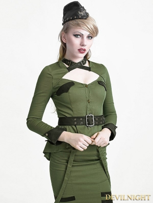 Green Gothic Uniform Style Shirt for Women