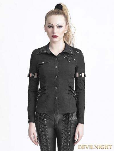 Black Two-Wearing Gothic Punk Shirt for Women