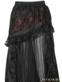 Black and Red Steampunk Long Skirt