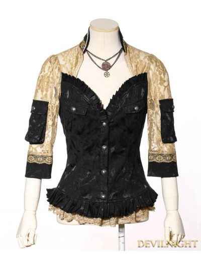 Brocade Steampunk Jacket Blouse for Women