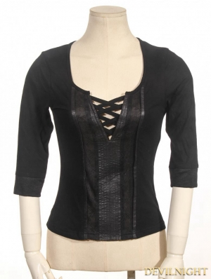 Black 3/4 Sleeves Steampunk Shirt for Women