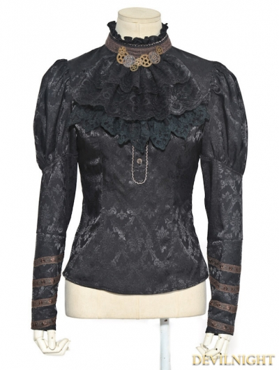 Black Jacquard Long Sleeves Steampunk Shirt for Women
