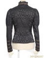 Black Jacquard Long Sleeves Steampunk Shirt for Women