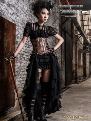 Black Irregular Steampunk Long Skirt