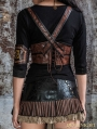 Brown Steampunk Leather Underbust Harness