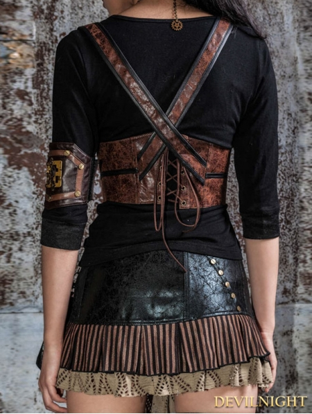 Brown Steampunk Leather Underbust Harness Devilnight Co Uk