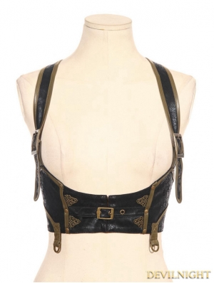 Black Steampunk Leather Underbust Harness