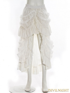 White High-Low Lace Steampunk Skirt