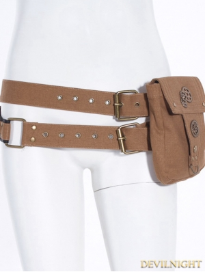 Brown Steampunk Belt with Pocket Bag