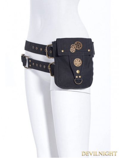 Grey Steampunk Belt with Pocket Bag