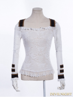 White Off-the-Shoulder Lace Steampunk Shirt for Women