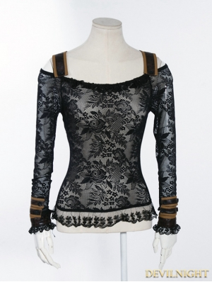 Black Off-the-Shoulder Lace Steampunk Shirt for Women