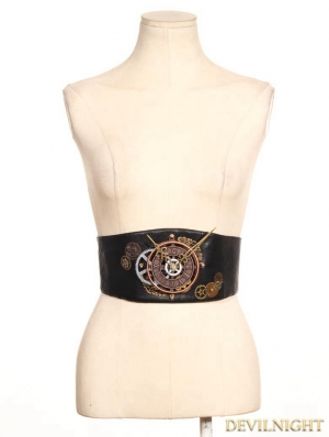 Brown Steampunk Leather Style Clock Belt