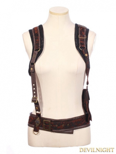 Brown Steampunk Braces with Bag