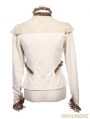 White Long Sleeves Steampunk T-Shirt for Women