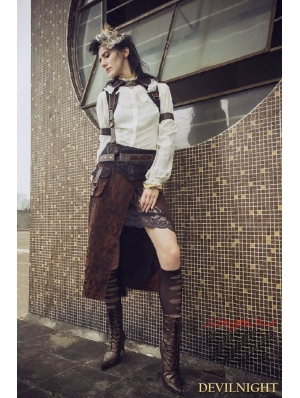 Brown Steampunk Two Piece Long Skirt