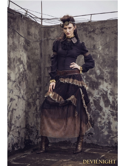Lace Irregular Long Steampunk Skirt