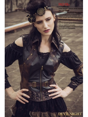 Steampunk Faux Leather Vest for Women