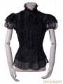 Black Gothic Short Sleeves Lace Blouse for Women