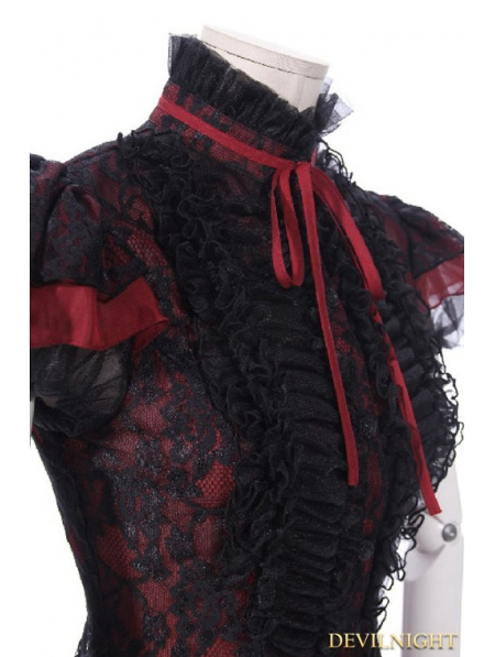 Black And Red Gothic Short Sleeves Lace Blouse For Women