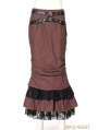 Brown Cotton Mermaid Steampunk Long Skirt