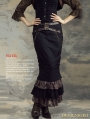 Black Cotton Mermaid Steampunk Long Skirt