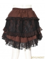Brown Stripe Short Steampunk Skirt