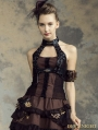 Black and Brown Halter Steampunk Vest Shirt for Women