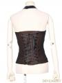Black and Brown Halter Steampunk Vest Shirt for Women