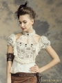 Steampunk Halter Short Sleeves Shirt for Women
