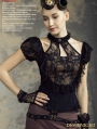 Black Steampunk Halter Short Sleeves Shirt for Women