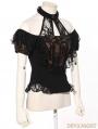 Black Steampunk Halter Short Sleeves Shirt for Women