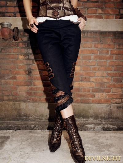 Steampunk Slim Calf Length Trousers for Women