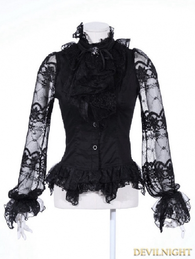 Black Bowtie Gothic Blouse for Women