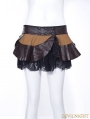 Steampunk Faux Leather Black Lace Layer Short Skirt