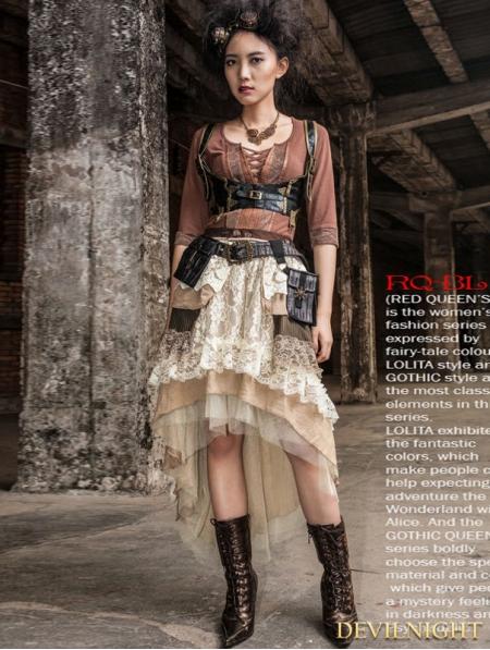 lace highlow steampunk skirt devilnightcouk