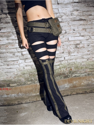 Black and Dark Green Steampunk Trousers for Women