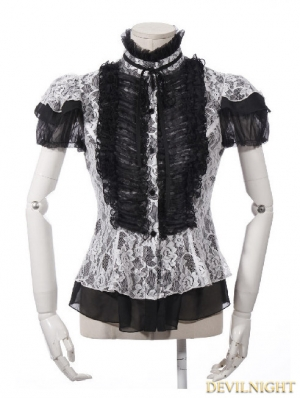 Gothic Short Sleeves Lace Blouse for Women