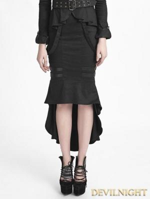 Black Uniform Style Gothic Punk Fishtail Skirt