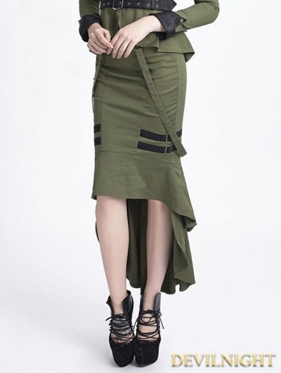 Green Uniform Style Gothic Punk Fishtail Skirt