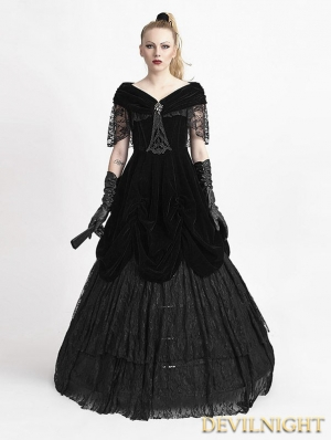 Black Velvet Off-the-Shoulder Gothic Victorian Dress