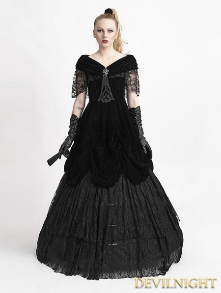 black velvet offtheshoulder gothic victorian dress