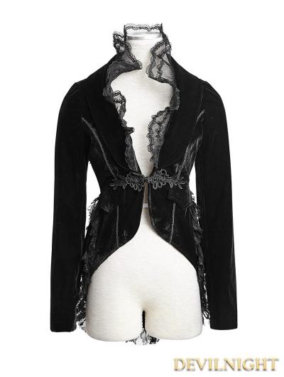 Romantic Velvet Black Gothic Jacket for Women