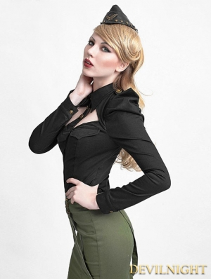 Black Gothic Uniform Style Shirt with Puff Sleeves